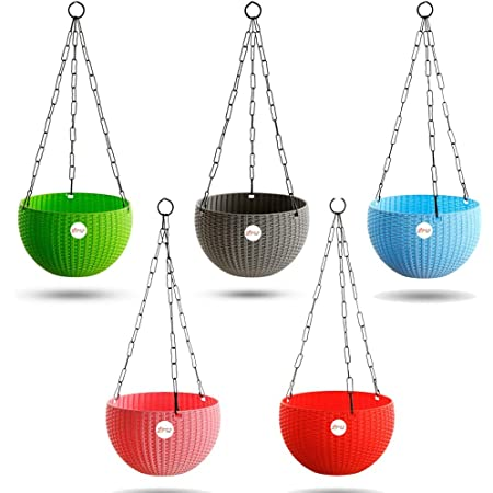 Kraft Seeds Hanging Planter Euro Elegance Round Solid Look and Feel Pots for Home & Balcony Garden 17.5cm Diameter (Pack of 5), Colorful Set