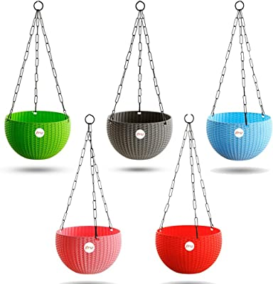 Kraft Seeds Hanging Planter Euro Elegance Round Solid Look and Feel Pots for Home & Balcony Garden 17.5cm Diameter (Pack of 5)
