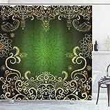 ABAKUHAUS Mandala Duschvorhang, Arabesque Rahmen Lotus, mit 12 Ringe Set Wasserdicht Stielvoll Modern Farbfest & Schimmel Resistent, 175x180 cm, Hellgelb Schwarz Grün