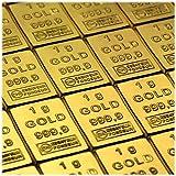 50 Gramm / 50g Gold bestehen aus 50x 1g (1 Gramm) Goldbarren 999,9 Feingold/Minibarren/Mini...