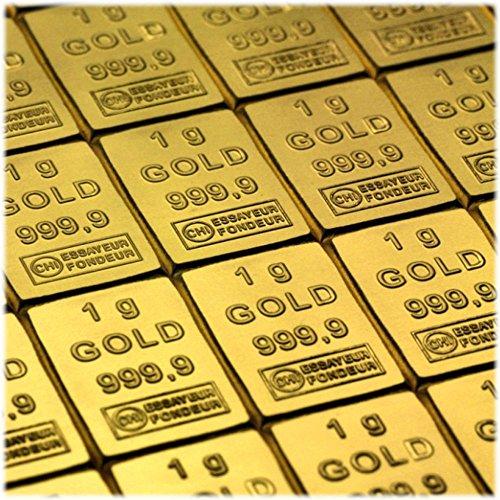2 Gramm / 2g Gold bestehen aus 2x 1g (1 Gramm) Goldbarren 999,9 Feingold/Minibarren/Mini Goldbaren/Tafelbarren/Gold Barren/Tafel - 24 Karat - teilbar- in CombiBar Blister
