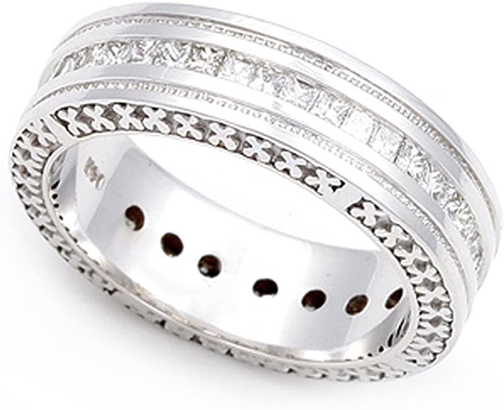 14k White Gold Channel set Cross Band free shipping Quality inspection G-H Design Milgrain Ring