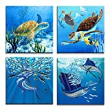 Moyedecor Art - 4 Pieces Wall Art Paintings Turtle And Tuna In The Blue Underwater Uorld Of Art Pictures Prints On Canvas Decoration Home and Office - Size:12'x12'inch x 4 Panel Ready to Hang