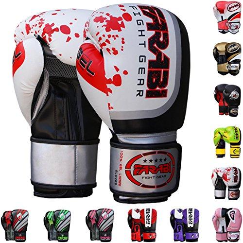 Farabi Boxing Gloves Boxing Gloves for Training Punching Sparring Muay Thai Kickboxing Gloves (White, 14Oz)