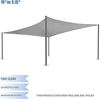 E&K Sunrise 8' x 12' Light Grey Sun Shade Sail Square Canopy - Included Pad Eyes -Permeable UV Block Fabric Durable Patio Outdoor