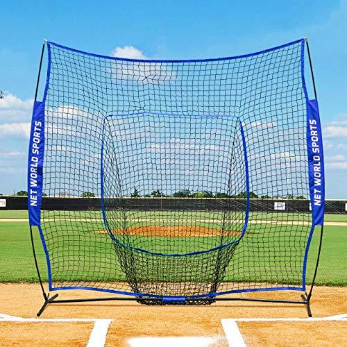 Fortress Baseball Schlagtrainingsnetz – 2,1m x 2,1m Baseball und Softball Schlagnetz - Socknetz mit Stiften und eine Tragetasche (Pop-Up Schlagnetz)
