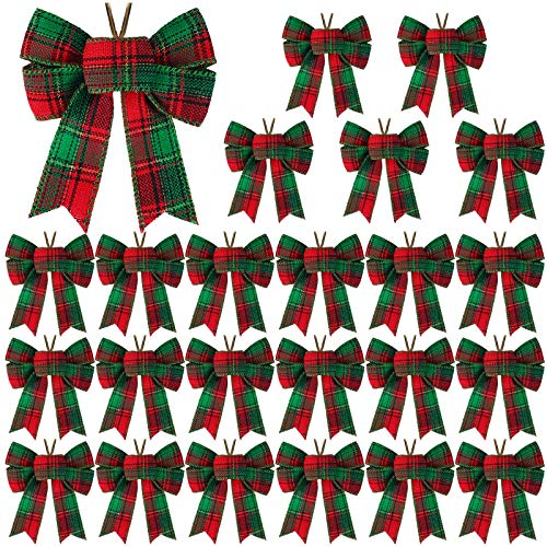Aneco 24 Pieces Small Christmas Buffalo Plaid Bows Holiday Decorative Wreath Bows Xmas Hanging Bows for Christmas DIY Supplies, 5 x 4 Inches