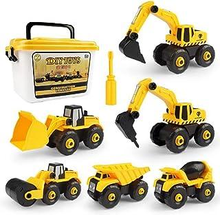 ألعاب أطفال للأولاد، سيارات بناء حفار لعبة شاحنة مع صندوق تخزين، 6 في 1 ألعاب يدوية بناء تعليمية للأولاد والبنات من سن 3 و...