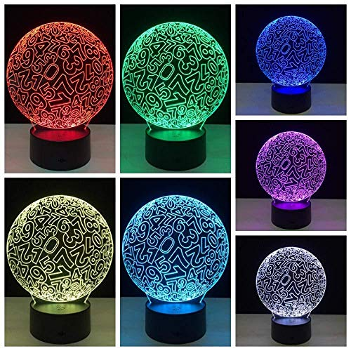 3D illusion nachtlampje, digitale bol, led-tafellamp, nachtlampje, 7 kleuren, USB-opladen om kinderkamerdecoratie, verjaardagscadeau te verlichten.