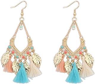 Swyss Bohemian Tassel Long Earrings Creative Metal Leaves Earrings Fashion Trend Design Jewelry (B)