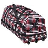 XXL Rollenreisetasche COCOONO 100-135 Liter Volumen Reisetasche faltbar Trolley Koffer Storm Tasche (Red Checker (Rot kariert))