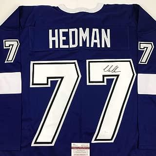 Autographed/Signed Victor Hedman Tampa Bay Blue Hockey Jersey JSA COA