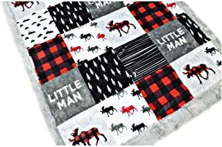 "Buffalo Plaid Moose, Minky Baby Blanket""Little Man,"" in Red & Black (3 Sizes, Personalize with embroidery on back)"
