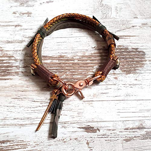 Hundehalsband *Vagabond* Kamu Flash – Boho-Stil – Halsband für Hunde – 100% Handmade & Unique – Tauwerk aus 100% reiner Baumwolle & hochwertiges Rindslederband