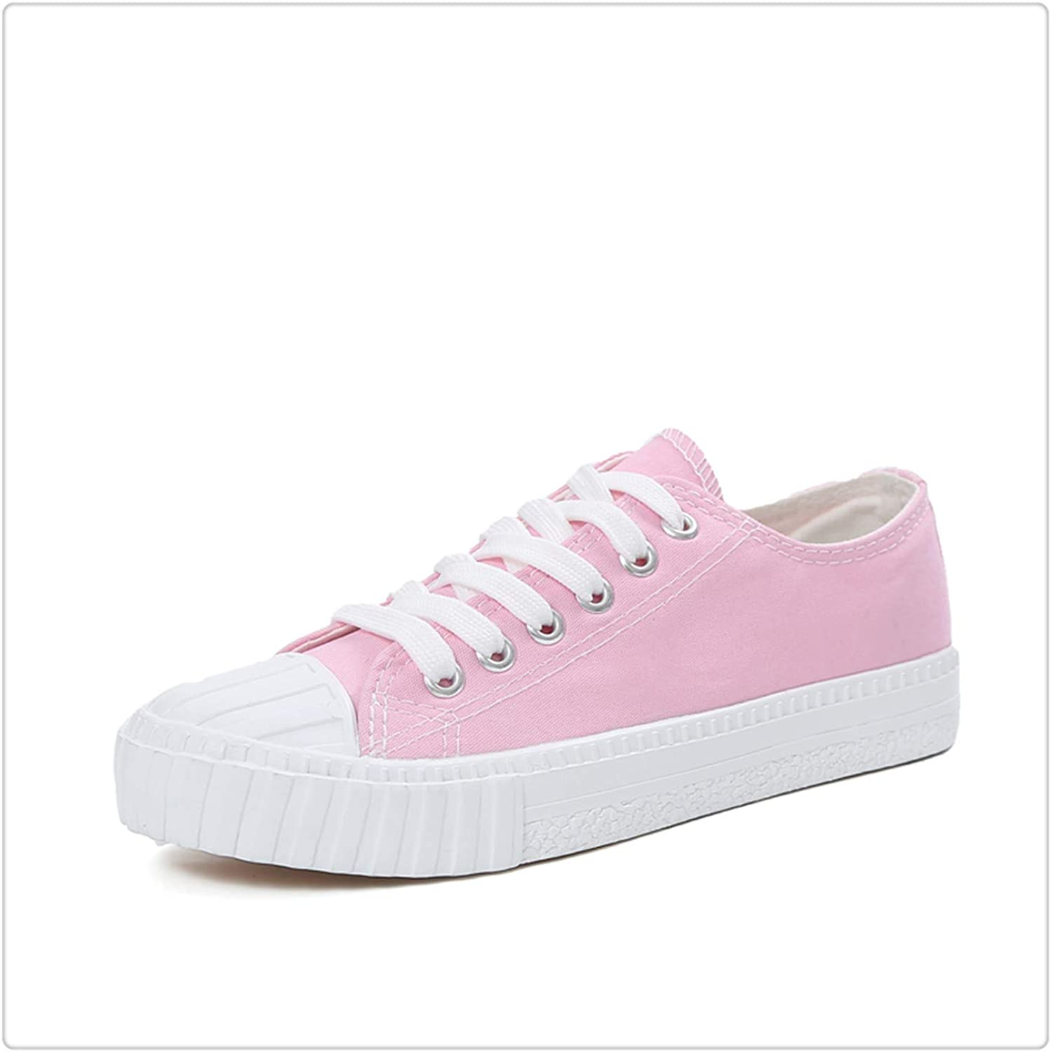 HCHBE& Solid White Canvas shoes Free Creation Graffiti shoes Spring Autumn Women's Vulcanize shoes Pink Female Sneakers Casual 2019 Pink Canvas shoes 6