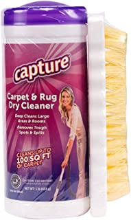 Capture Carpet Dry Cleaner Powder with Brush - Resolve Stain Odor Allergens Moisture from Wool, Rugs, Carpets, Furniture, Upholstery and Fabric, Mold Pet Stains Smoke and Allergies too