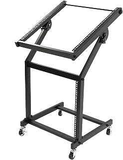 $54 » Kuyal DJ Rack Mount Rolling Stand Adjustable 19U Mixer Studio Stand Stage Cart with Wheels- Black