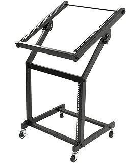 $56 » Kuyal DJ Rack Mount Rolling Stand Adjustable 19U Mixer Studio Stand Stage Cart with Wheels- Black