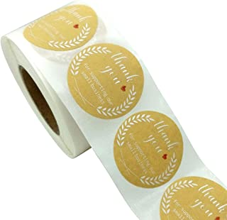 1.5 بوصة ملصقات عطلة عيد الميلاد / 6 بالتناوب تصاميم شجرة عطلة الزهور / 500 ملصق عيد الميلاد (ملصقات ذهبية-شكرا لك)