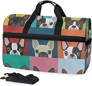 Cartoon Color Chihuahua Dog Sports Gym Bag with Shoes Compartment Travel Duffel Bag for Men Women