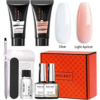 Modelones Poly Nail Gel Kit 30ml 2PCS With Slip Solution Extension Builder Enhancement Professional Starter Kit All-in-One Nail Technician French Kit Clear