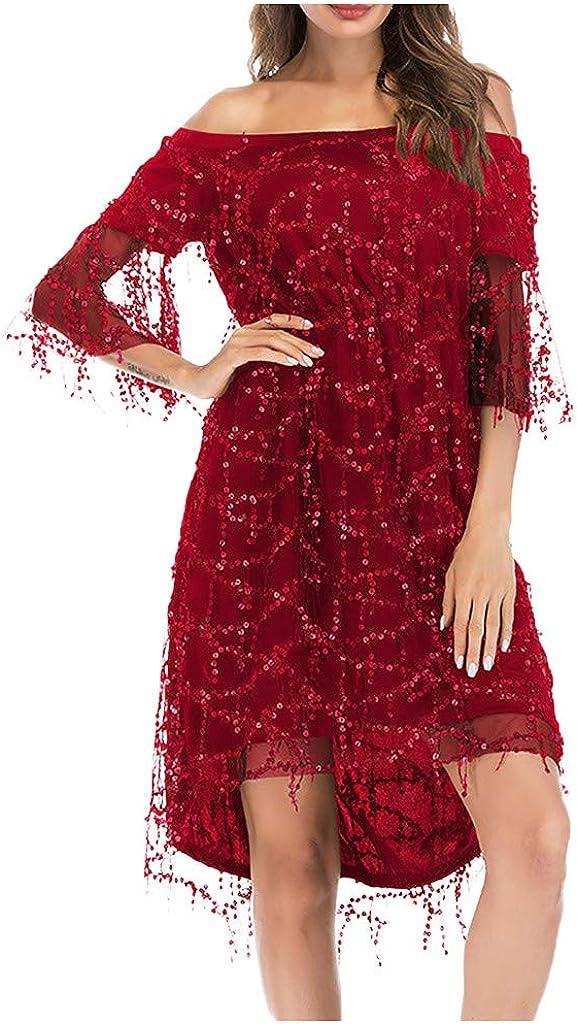 KINGOLDON Women Sexy Hip Sequined Dress Shimmer Short Sleeve Flashy Sequins Embellished Dress