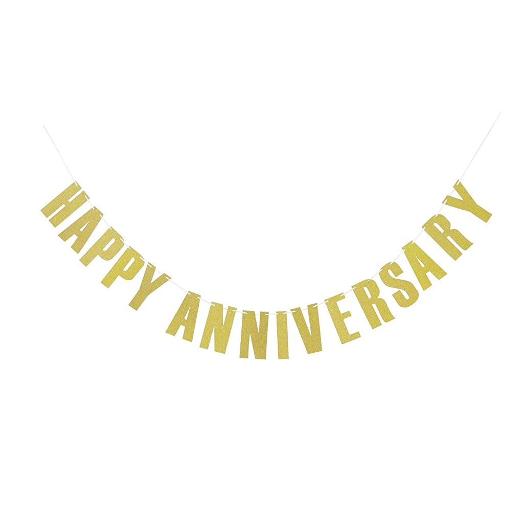 MAGQOO Anniversary Party Decorations - Gold Glitter Happy Anniversary Banner Bunting - Vow Renewal Party Supplies, Favors - Celebration Decor Photo Props