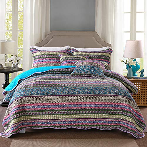 MaiuFun Cotton Bedspread Quilt Sets Queen/Full Size, Retro Blue/Purple Classical Striped Bohemian Floral Patchwork Patterns, 3-Piece Bedding Coverlet for All Season (1 Quilt + 2 Pillow Shams)