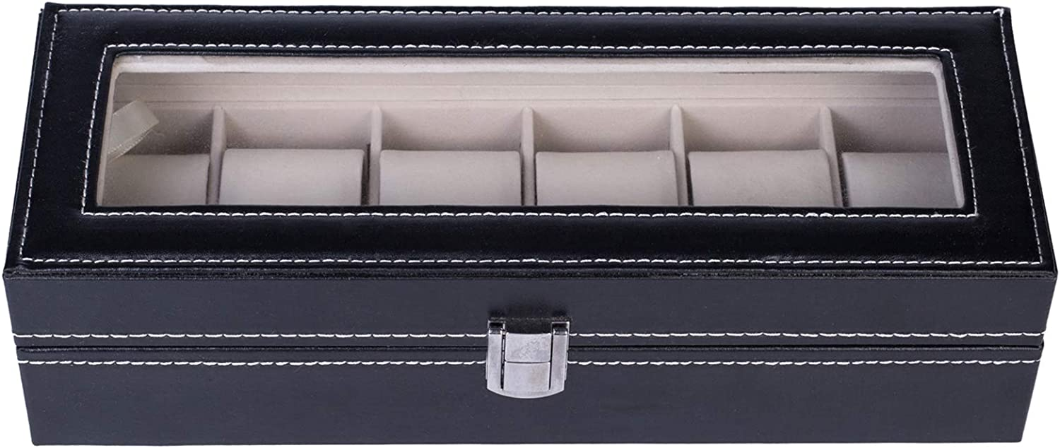 New item 6 Compartments High-grade Leather Watch free shipping Box Storage Collection B
