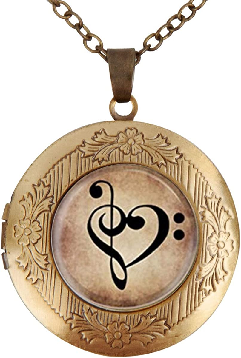 Women Locket Necklace Bass Treble Clef Heart On Dark Parchment Gold Plated Necklace Pendant Gifts for Girls