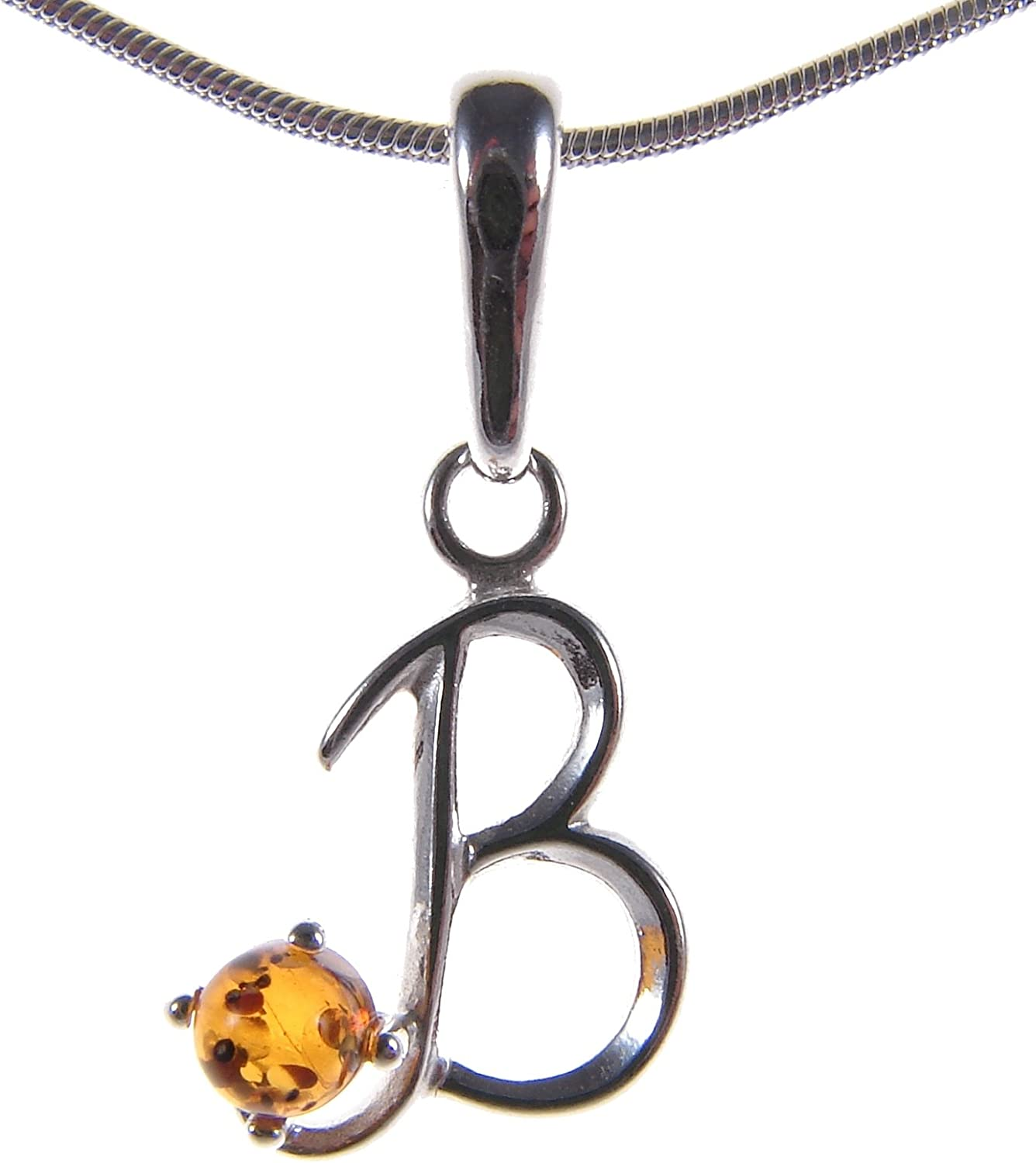 10 12 14 16 18 20 22 24 26 28 30 32 34 36 38 40 1mm ITALIAN SNAKE CHAIN BALTIC AMBER AND STERLING SILVER 925 ALPHABET LETTER B PENDANT NECKLACE