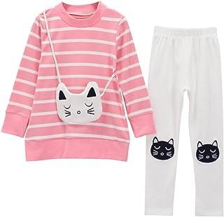 11ffd6ef2b596 Sunenjoy 2 PCs Enfants Filles Bande Dessin Chat T-Shirt Tops + Pantalon  Manches Longues