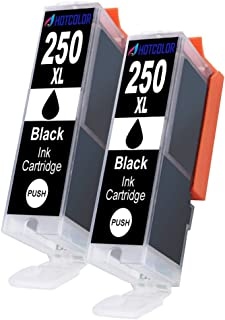 HOTCOLOR 2Pack PGI-250 XL PGI-250XL Black PGBK Ink Cartridges for Canon Pixma MX922 iX6820 iP7220 MG6620 MG5520 MG7520 MG5420 iP7220 Printer