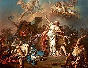 Apolo Deus do Sol e Ártemis Deusa da Lua Matando os Filhos de Niobe Mitologia Grega Pintura de Jacques-Louis David na Tela em Vários Tamanhos (72 cm X 55 cm tamanho da imagem)