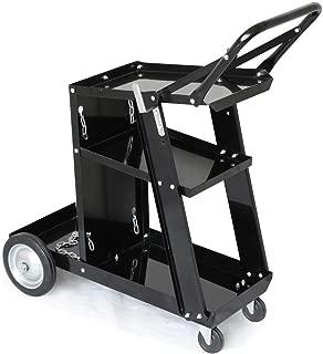 Yaheetech Welding Welder Cart MIG TIG ARC Plasma Cutter Tank Storage with Rear Wheels Swivel Casters, 3 Shelf/2 Safety Chains/2 Hooks, Black Finish