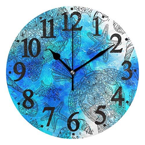 Ahomy Runde Wanduhr Aquarell Meeresschildkröte Muschel Algen Seestern Koralle Blau und Türkis Home Art Decor Antiticking Ziffern Uhr für Home Office 1 x AA Batterie (nicht im Lieferumfang enthalten)