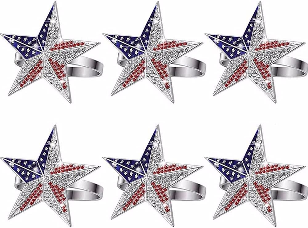Portland Mall KUAIZI 6 Pieces Patriotic Napkin National Flag Don't miss the campaign Metal Rings Star