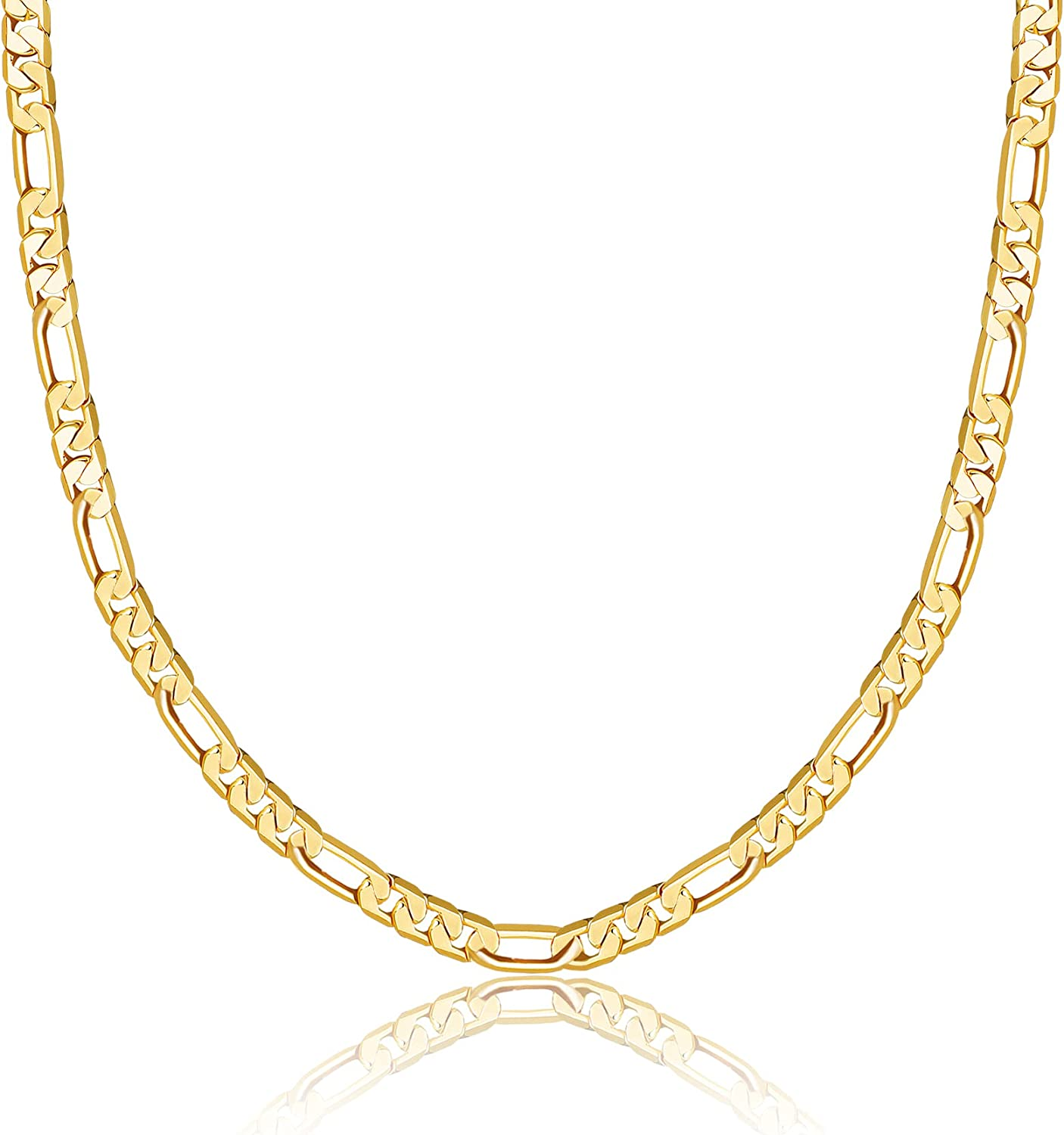 Gold Chain Necklaces for Women, 14K Gold Plated Dainty Paperclip Chain Cuban Link Chain Lock Pendant Coffee Bean Rope Chain Gold Necklace for Women Chunky Chain Necklace Jewelry Gifts
