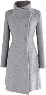 Womens Belt Classic Single Breasted Stand up Collar Wool Pea Coat