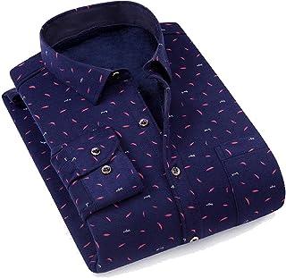 qianqianq Mens Thickened Classic Plaid Fleece Long-Sleeve Button Down Warm Shirt