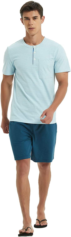 Mucwer Men's Short Sleeve Pajamas Set Short Sleeve Henley Sleep Top Loose Casual Nightwear Pajama Set (S~XXXL)