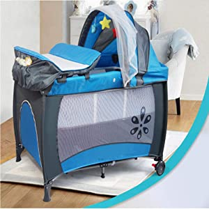 Mr LQ Multifunctional Foldable Crib Portable Game Bed Blue