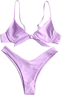 ZAFUL Womens Sexy Knotted Front Underwire Bikini Set Two Pieces Spaghetti Straps Swimsuit Bathing Suit
