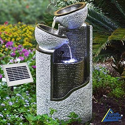 """SOLAR WATER FEATURE - CASCADE WATER FEATURE """"GRANIT PILLS & BOWLS"""" SOLAR GARDEN FOUNTAIN - OUTDOOR WATER FOUNTAIN for garden, balcony, terrace WATER FEATURE with LED LIGHT & LI-ION BATTERY from Profi-Pumpe.de"""