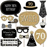 Big Dot of Happiness Adult 70th Birthday - Gold - Birthday Party Photo Booth Props Kit - 20 Count