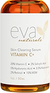 Best Eva Naturals Vitamin C Serum Plus 2% Retinol, 3.5% Niacinamide, 5% Hyaluronic Acid, 2% Salicylic Acid, 10% MSM, 20% Vitamin C - Skin Clearing Serum - Anti-Aging Skin Repair, Face Serum (1 oz) Reviews