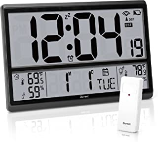 """Sponsored Ad - Atomic Clock - Digital Wall Clock with Jumbo Display Easy to Read Numbers with 4.5"""" Numbers, Indoor/Outdoor..."""