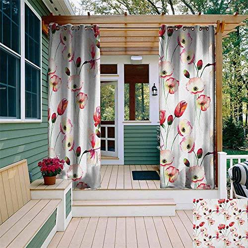 Deuropening gordijn Bloemenpatroon met Papaver Bloemen Takken Illustratie Aquarel Schilderij Effect Print Geweldig voor Woonkamers & Slaapkamers W72