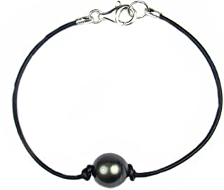Regalia by Ulti Ramos 10-11mm Tahitian Baroque Cultured Pearl Leather Bracelet AAAA Quatlity Assembled in The U.S.A.