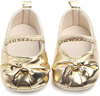 Nagodu Zapatos Casual Formal de Vestir para niña Dorados con moñito, Hermoso Color Diferentes Tallas